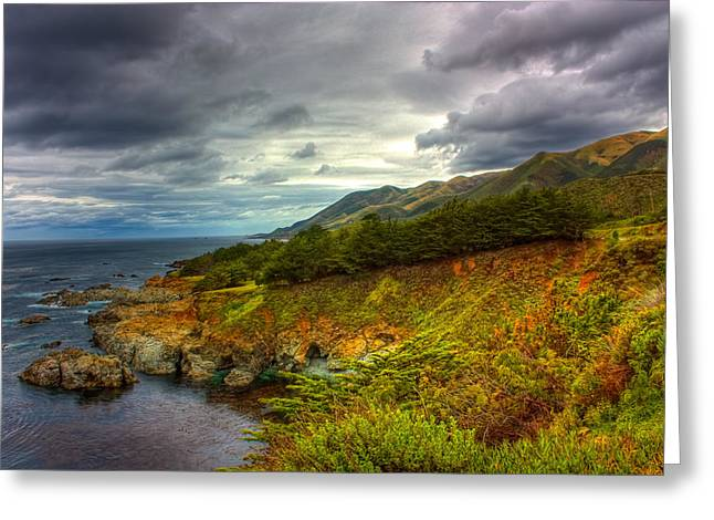 Big Sur Greeting Cards - Stormy Coast Greeting Card by Matt  Trimble