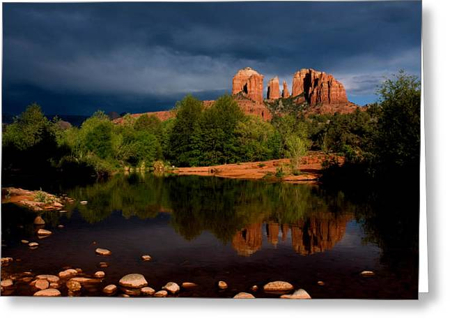 Red Rock Crossing Photographs Greeting Cards - Stormy Day At Cathedral Rock Greeting Card by David Sunfellow