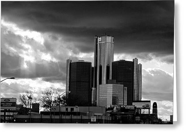 Ren Cen Greeting Cards - Stormy Detroit GM Building - Black and White Greeting Card by Alanna Pfeffer