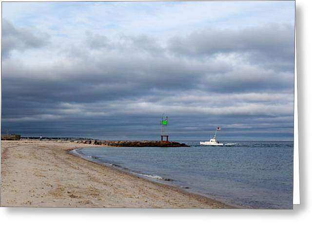 Storm Clouds Cape Cod Greeting Cards - Stormy Evening Bass River Jetty Cape Cod Greeting Card by Michelle Wiarda