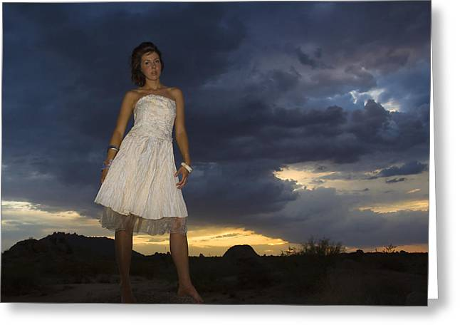 Portrait Photography Greeting Cards - Stormy Greeting Card by Jean Hildebrant
