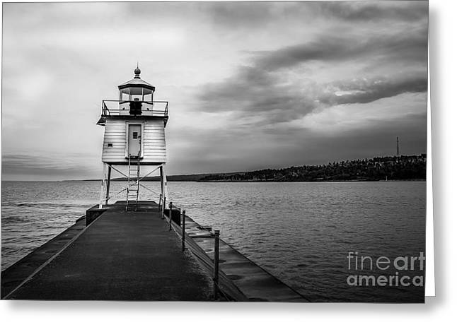 Minnesota Fishing Greeting Cards - Stormy Lighthouse Greeting Card by Perry Webster