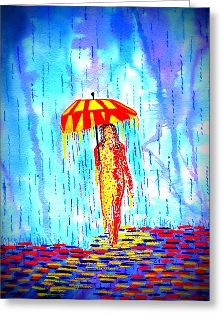 Abstract Woman In Color Greeting Cards - Stormy Mood 2 Greeting Card by Connie Valasco