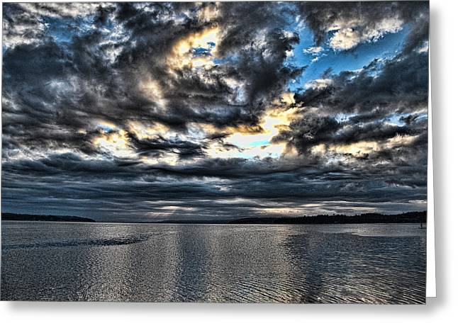 Framed Whidbey Prints Greeting Cards - Stormy Morning Greeting Card by Ron Roberts