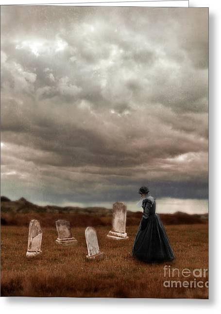 Renaissance Clothing Greeting Cards - Stormy Mourning  Greeting Card by Jill Battaglia
