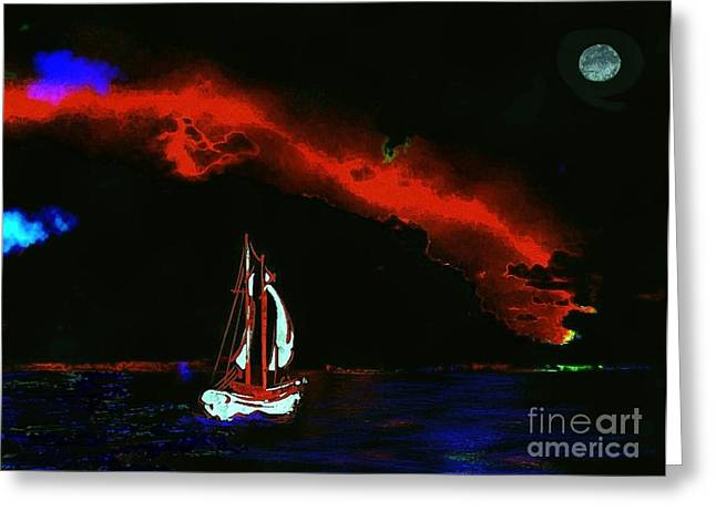Sea Moon Full Moon Mixed Media Greeting Cards - Stormy Night Greeting Card by Mimo Krouzian