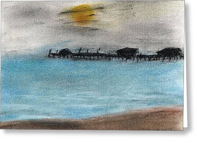Ocean Scenes Pastels Greeting Cards - Stormy Pier Greeting Card by Jim Patrick