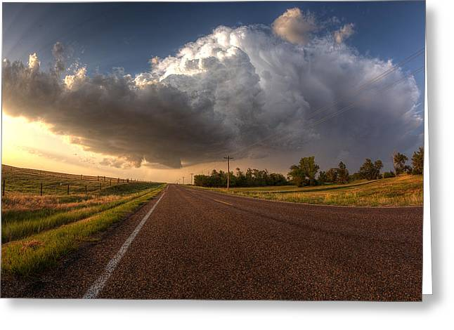 Ahead Greeting Cards - Stormy Road Ahead Greeting Card by Thomas Zimmerman