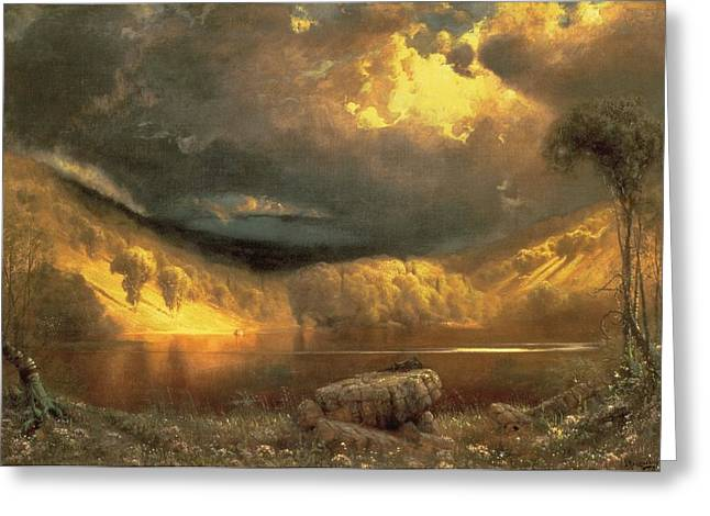 Storm Clouds Paintings Greeting Cards - Stormy Skies above Echo Lake White Mountains  Greeting Card by Fairman California