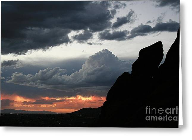 Camelback Mountain Greeting Cards - Stormy Sunset Greeting Card by Cassandra Lemon