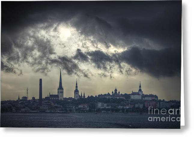 Panoramic Ocean Greeting Cards - Stormy Tallinn. Greeting Card by Clare Bambers