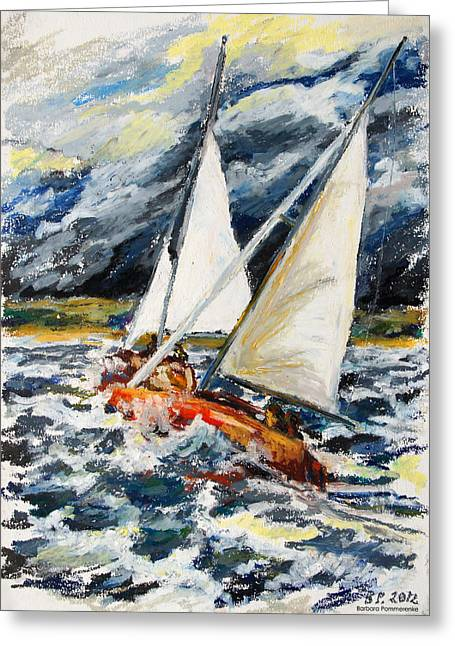 Seen Pastels Greeting Cards - Stormy Way Home Greeting Card by Barbara Pommerenke