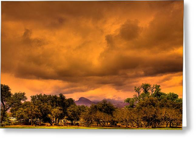 Iron Oxide Greeting Cards - Stormy Weather at Red Rocks Canyon Greeting Card by David Patterson
