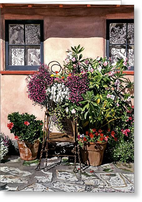 Flowerpot Greeting Cards - Storybook Cottage Carmel Greeting Card by David Lloyd Glover