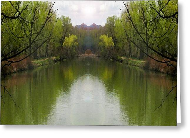 Spring Greeting Cards - Storybook Lake Reflecting Green Greeting Card by Gretchen Wrede