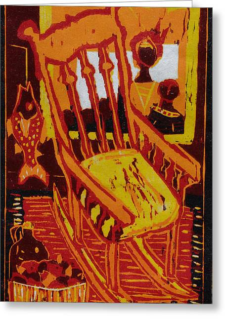 Rocking Chairs Reliefs Greeting Cards - Storytime Greeting Card by Dee Timm