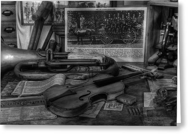 Vector Image Photographs Greeting Cards - Stradivarius and Trumpet at Rest - Violin - nostalgia - vintage - music -instruments  - II Greeting Card by Lee Dos Santos
