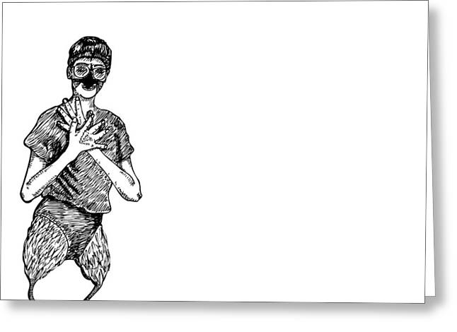 Jazz Drawing Greeting Cards - Strange Bird Lady with Spear Fingers Greeting Card by Karl Addison
