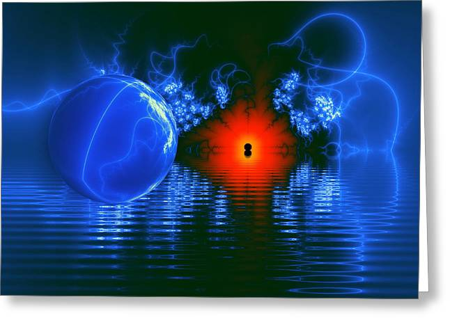 Contemporary Art Greeting Cards - Strange Lights on the Lake Greeting Card by Pam Blackstone