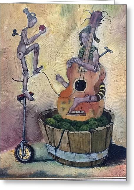 Guitar Stings Greeting Cards - Strange Melody for a False Event Greeting Card by Carlos Rodriguez Yorde