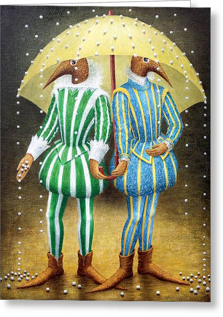 Birdman Greeting Cards - Strange Rain Greeting Card by Lolita Bronzini