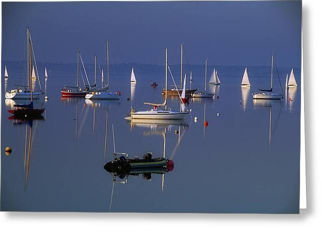 Boats In Reflecting Water Photographs Greeting Cards - Strangford Lough, Co Down, Ireland Greeting Card by Sici