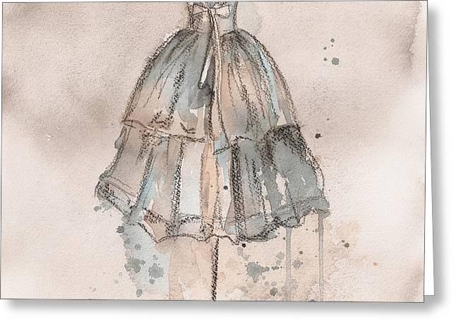 Strapless Champagne Dress Greeting Card by Lauren Maurer