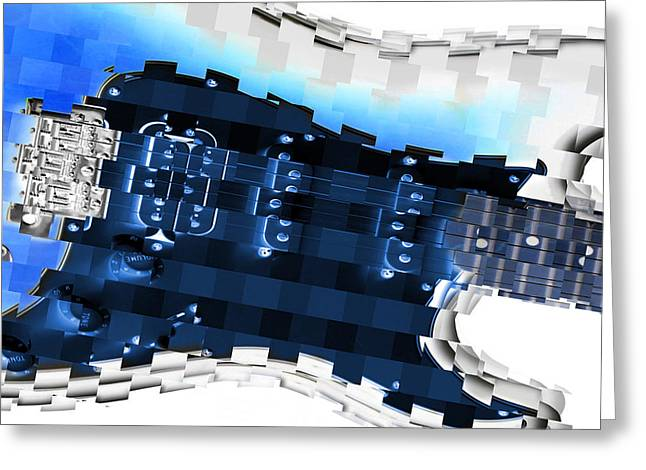 Abstract Guitar In Blue Greeting Card by Mike McGlothlen
