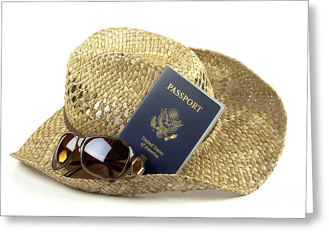 Globalization Greeting Cards - Straw hat with glasses and passport Greeting Card by Blink Images
