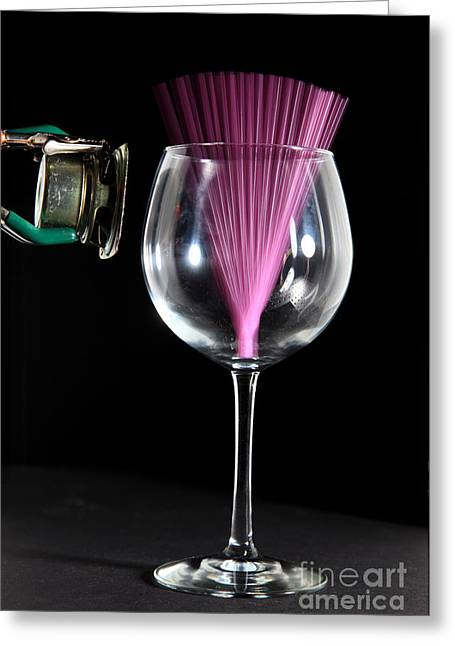 Acoustical Photographs Greeting Cards - Straw In A Glass At Resonance Greeting Card by Ted Kinsman