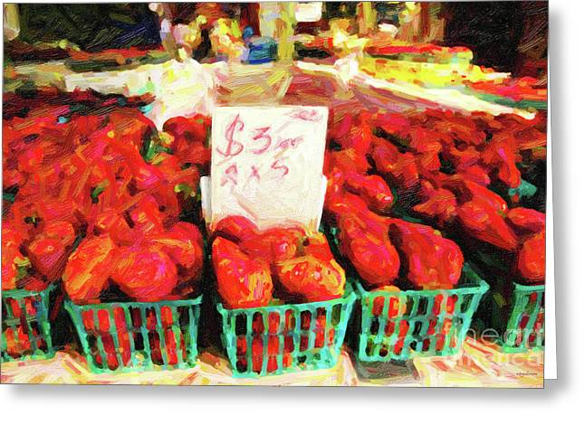 Fruit Stand Greeting Cards - Strawberries . 3 Dollars a Basket or 2 For 5 Dollars Greeting Card by Wingsdomain Art and Photography