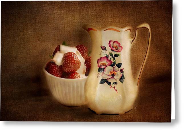 Strawberry Art Greeting Cards - Strawberries and Cream Greeting Card by Jai Johnson