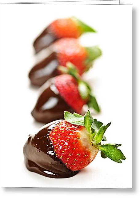 Dipping Greeting Cards - Strawberries dipped in chocolate Greeting Card by Elena Elisseeva