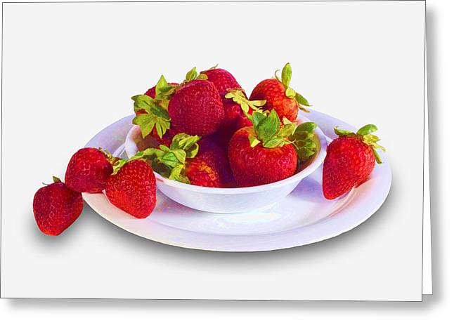 Strawberries In A White Bowl No.0029v2 Greeting Card by Randall Nyhof