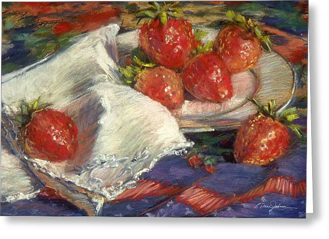 Strawberry Art Pastels Greeting Cards - Strawberries Greeting Card by L Diane Johnson
