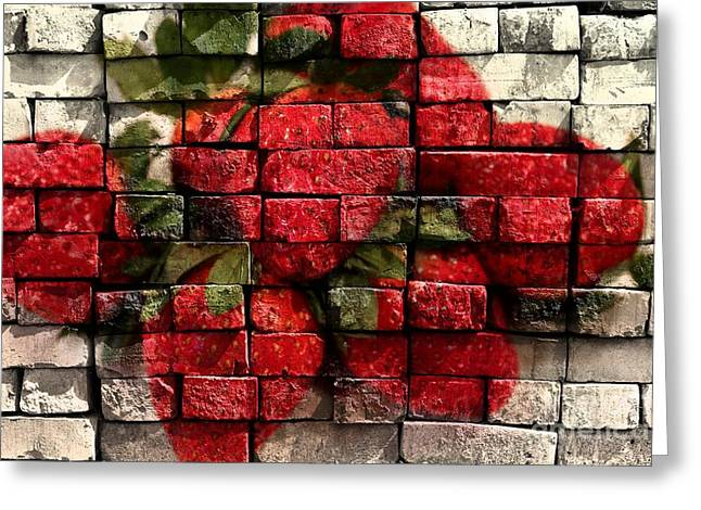 Strawberries On Bricks Greeting Card by Barbara Griffin
