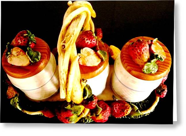 Baskets Of Strawberries Greeting Cards - Strawberriez Tonite Greeting Card by Piety Dsilva