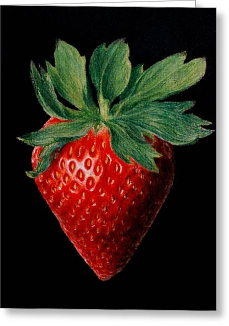 Strawberry Art Pastels Greeting Cards - Strawberry - pastel Greeting Card by John  Palmer