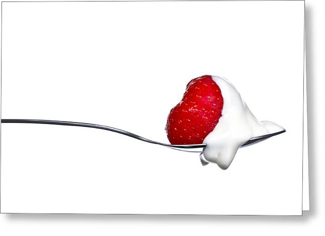 Biting Greeting Cards - Strawberry and Cream Greeting Card by Gert Lavsen
