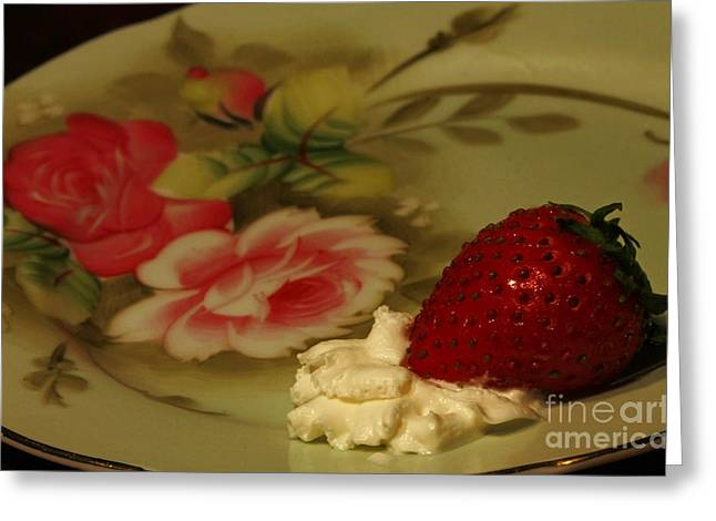 Shelley Myke Greeting Cards - Strawberry and Cream Greeting Card by Inspired Nature Photography By Shelley Myke