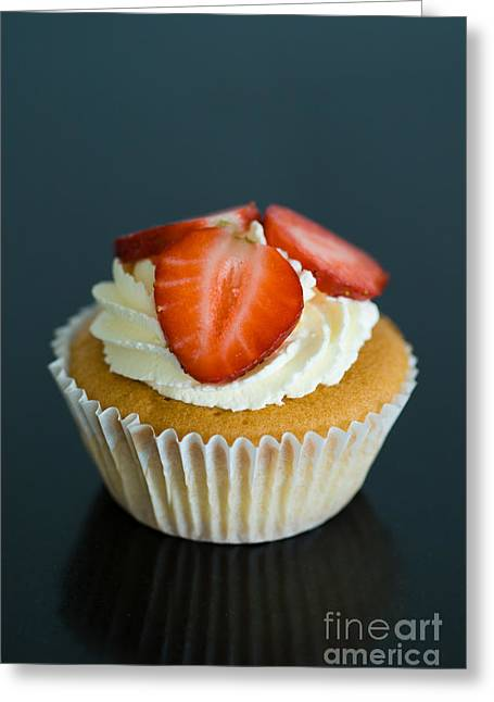 Home Sweet Home Greeting Cards - Strawberry cupcake Greeting Card by Ruth Black
