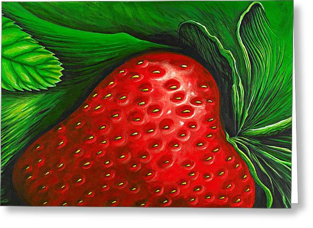 Strawberry Paintings Greeting Cards - Strawberry Greeting Card by David Junod