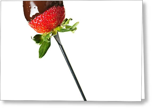 Strawberry dipped in chocolate Greeting Card by Elena Elisseeva