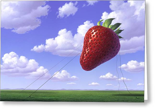 Strawberry Paintings Greeting Cards - Strawberry Field Greeting Card by Jerry LoFaro