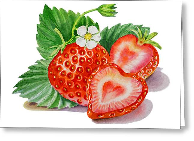 Label Greeting Cards - ArtZ Vitamins A Strawberry Heart Greeting Card by Irina Sztukowski