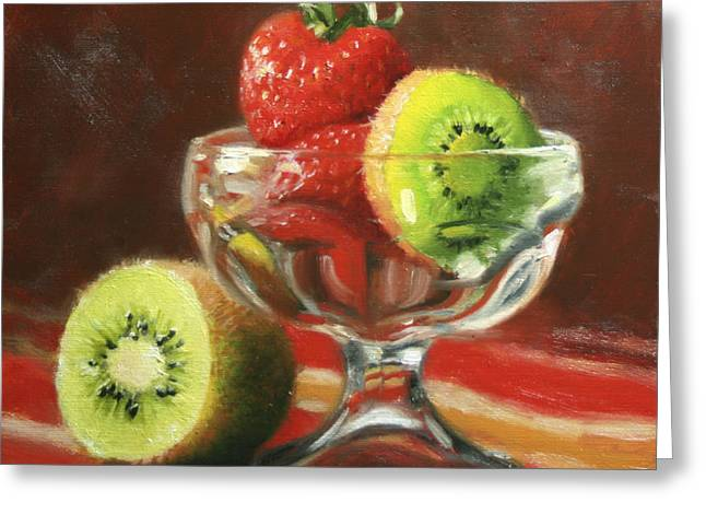 Dish Greeting Cards - Strawberry Kiwi Greeting Card by Anna Bain