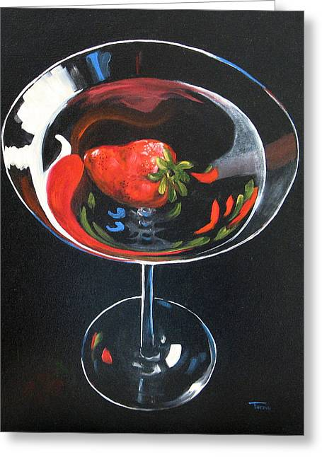 Strawberry Art Greeting Cards - Strawberry Martini Greeting Card by Torrie Smiley