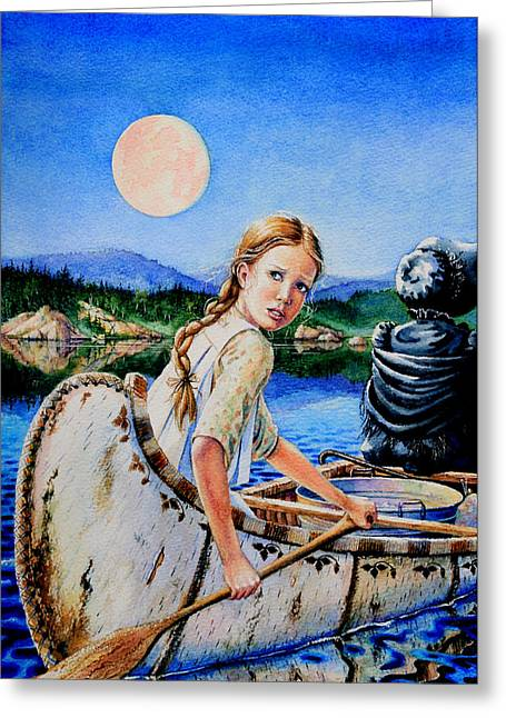 Pioneer Illustration Greeting Cards - Strawberry Moon Greeting Card by Hanne Lore Koehler