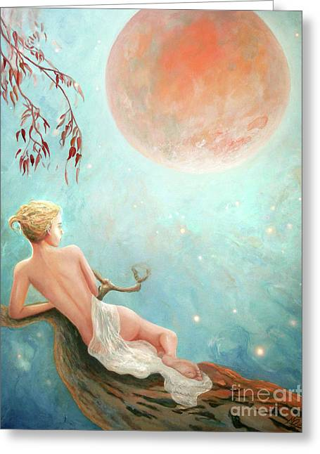 Strawberry Moon Nymph Greeting Card by Michael Rock