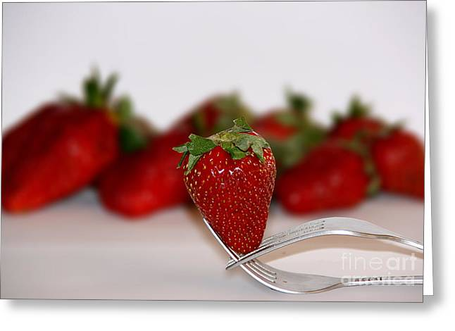 Strawberry On Spoon Greeting Card by Soultana Koleska
